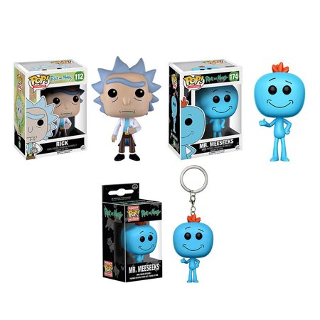 Character Display Figure and Collectible Toy and Collectible Accessory Funko POP! Rick Sanchez and Rick and Morty Mr. Meeseeks Pop! Vinyl Figure and Rick and Morty Mr. Meeseeks Pocket Pop! Key