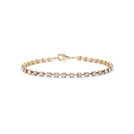 - Round Birthstone and Crystal Tennis Bracelet in Yellow Gold Tone