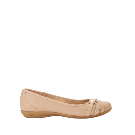 Women's Time and Tru Buckle Toe Flat