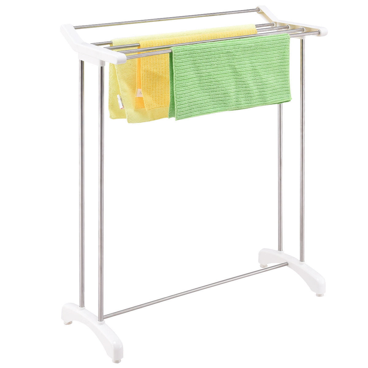 Gymax Free Standing Towel Rack Stand Stainless Steel Bathroom Organizer Hanger by Gymax