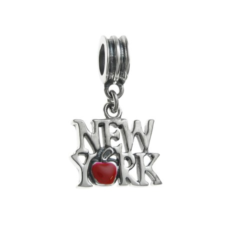 Queenberry Sterling Silver New York City Big Red Apple Enamel European Style Dangle Bead Charms Fits Pandora