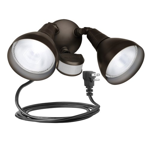 Brink's 240 Degree 2-Head Plug-In Motion Activated Security Light, Bronze