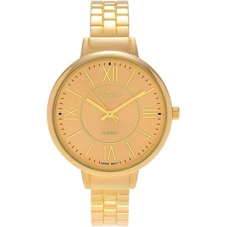 Brinley Co. Women's Goldtone Round Case Roman Numeral Cuff Fashion Watch