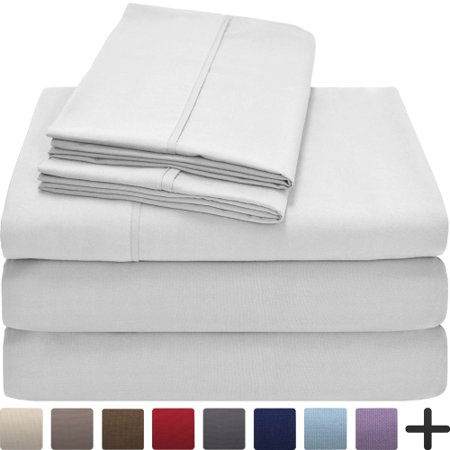 Premium 1800 Ultra Soft Microfiber Collection Split Queen Sheet Set  Hypoallergenic  Easy Care  Wrinkle Resistant  Deep Pocket  Split Queen  White