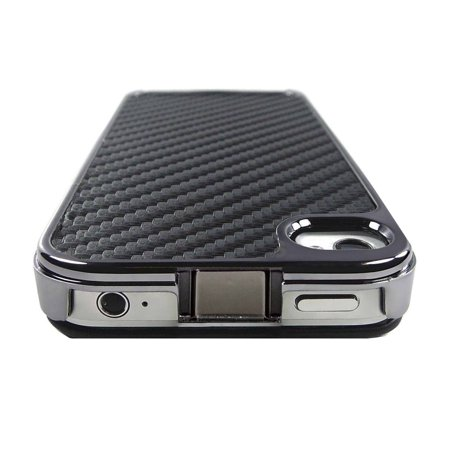 Importer520 Chrome Aluminum Skin Hard Back Case Cover for Verizon AT&T Sprint Apple iPhone 4 4G 4S Carbon Design Case Carbon Fiber Faceplate
