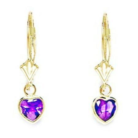 Heart Shaped Leverback Earrings (14k Yellow Gold February Purple CZ Heart Drop Leverback Earrings - Measures 23x6mm)