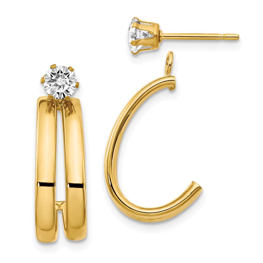 14K Yellow Gold Polished w/ CZ Stud Earringss Jackets (0.7IN x 0.3IN )