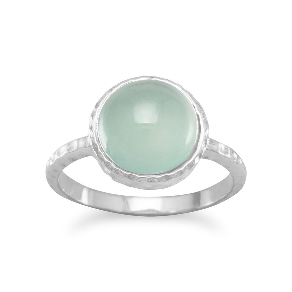 Round 10mm Sea Green Chalcedony Ring Sterling Silver by unknown