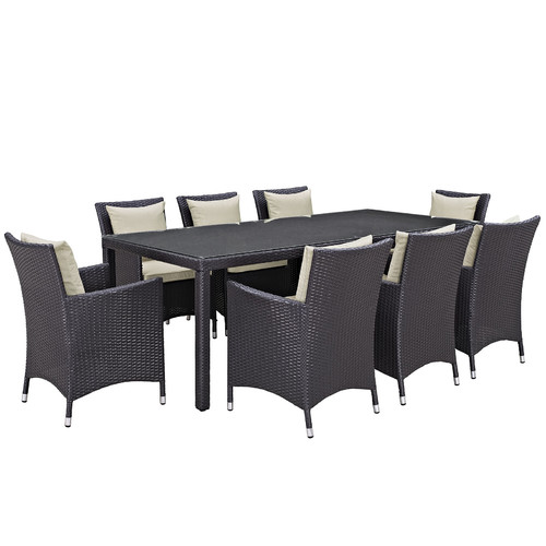 Sol 72 Outdoor Brentwood 9 Piece Outdoor Patio Dining Set with Cushions