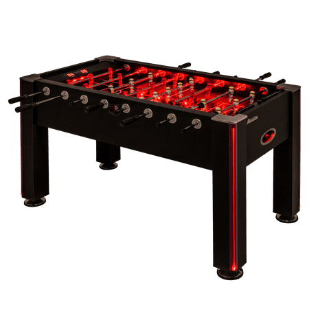 Atomic Blaze LED Light Up Foosball Table with Interactive Inrail LED Lighting and Cascading Effects Paired with In Game Music