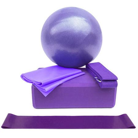 5pcs Yoga Equipment Set Include Yoga Ball Yoga Blocks Stretching Strap Resistance Loop Band Exercise Band - image 1 of 6