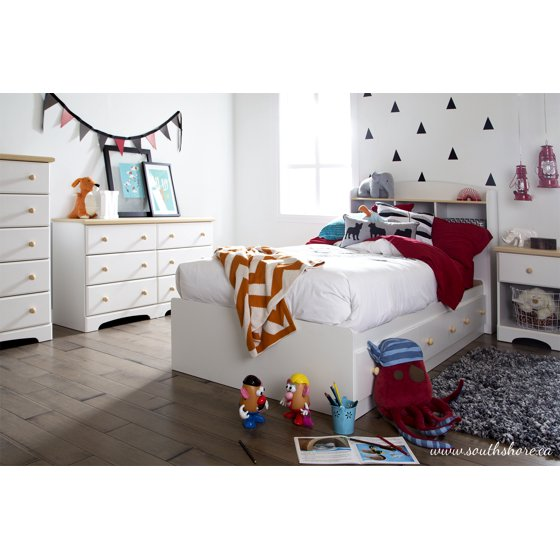 South shore summertime twin mates bed with 3 drawers 39 39 39 white and maple for South shore bedroom set walmart