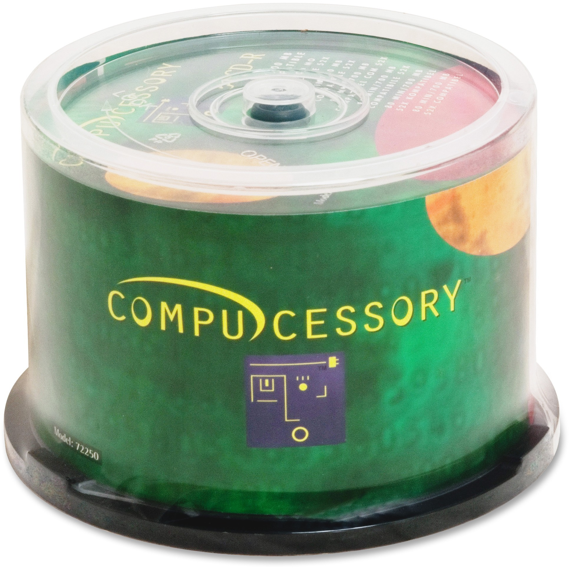 Compucessory, CCS72250, Branded Recordable CD-R Spindle, 50