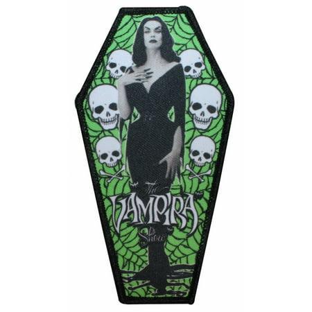 The Vampira Show Coffin Logo Horror Movies Kreepsville Iron On Applique -