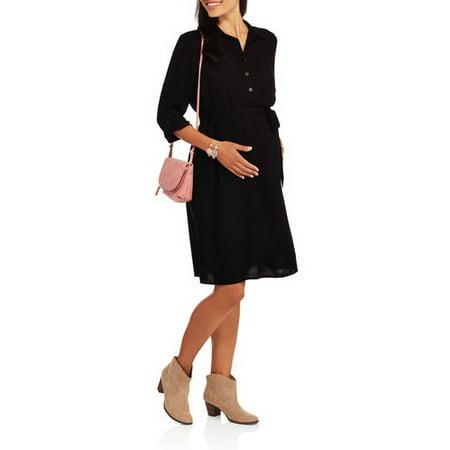 be12de83bd5 Maternity Roll Sleeve Belted Shirt Dress - Walmart.com