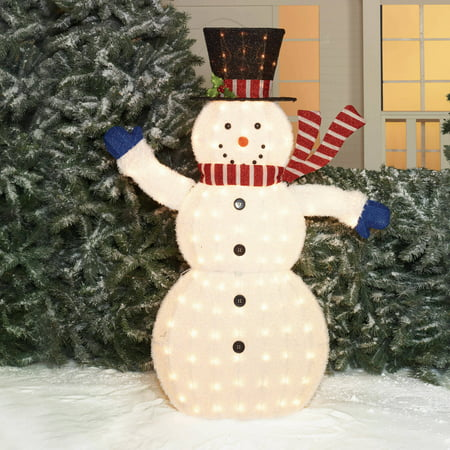 holiday time christmas decor 56 fluffy snowman sculpture - Holiday Time Christmas Decorations