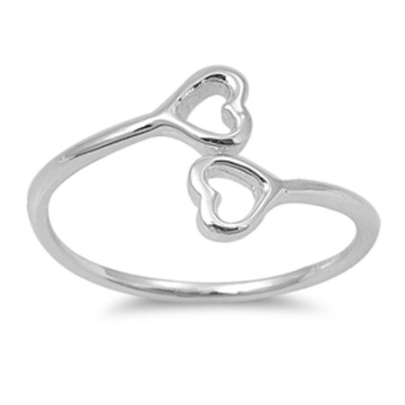 Double Blend - Girl's Double Heart Cutout Promise Ring New .925 Sterling Silver Band Size 9