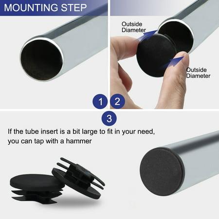 "30pcs 38mm OD Plastic Round Tube Insert Ribbed Pipe Cover Caps Black Table Floor Protector, 1.38""-1.46"" Inner Dia - image 3 de 7"