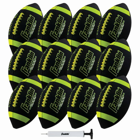 Franklin Sports Junior Size Footballs - Grip-Rite 1000 - Black/Optic, 12 Pack Deflated With Pump Sports Xtreme Football