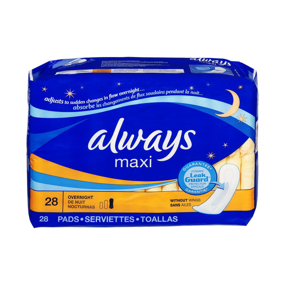 Always Maxi without Wings Overnight Pads - 28 CT
