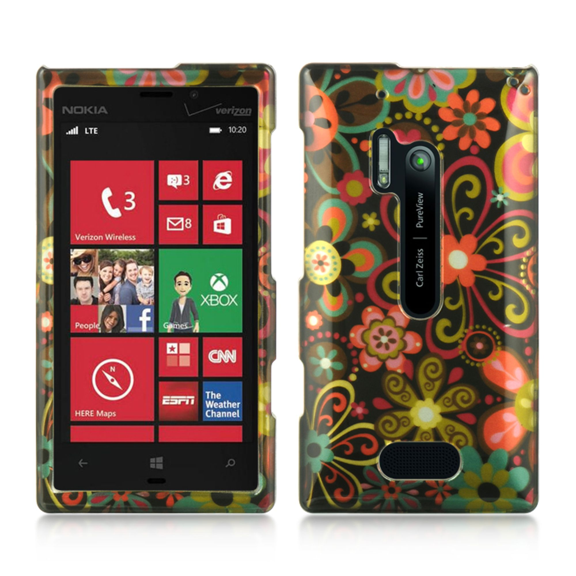 Insten Hard Crystal Skin Back Protective Shell Cover Case For Nokia Lumia 928 - Black Multi Flower
