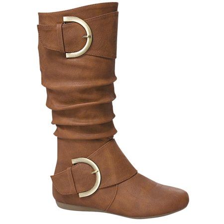Flap Bootie - Bank-85 Women Mid Calf D Ring Buckle Slouchy Scrunchy Flat Comfy Boots Booties Tan