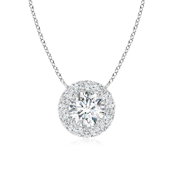 April Birthstone Pendant Necklaces Round Diamond Necklace with Halo in Platinum (4.5mm Diamond) SP0797D-PT-GVS2-4.5 by Angara.com