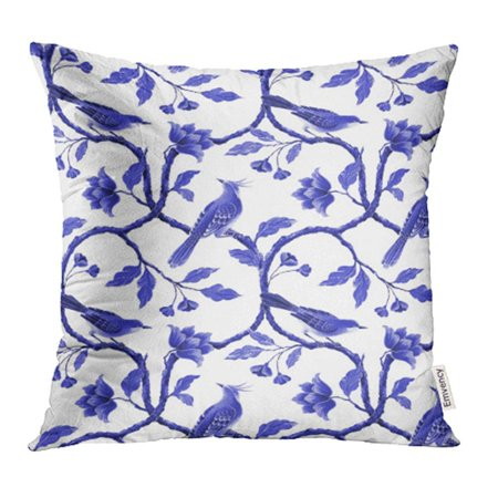 ARHOME Chinoiserie Blue White Floral Pattern Spring Flowers and Birds Hand Chinese Oriental Pillow Case Pillow Cover 20x20 inch Throw Pillow Covers