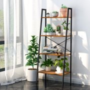 4-Tier Bookshelf Organizer with Resistant Black Metal Frame and Sturdy Multifunctional Antique Wood Design Shelving Unit Perfect for Holding Books, Plants, Ornaments, and Other Items
