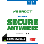 Webroot Internet Security with Antivirus Protection - 2020 Software / 3 Device / 2 Year Subscription / Digital Download