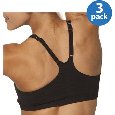 Fruit Of The Loom Womens Shirred Front Racerback Sports Bra  Style 90011  3 Pack