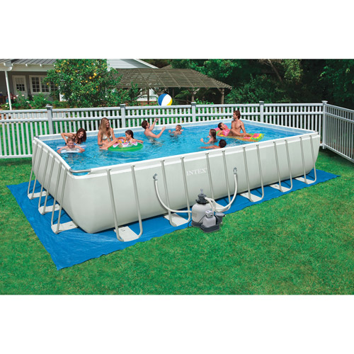 "Rectangle Above Ground Pool intex 24' x 12' x 52"""" ultra frame rectangular above ground"