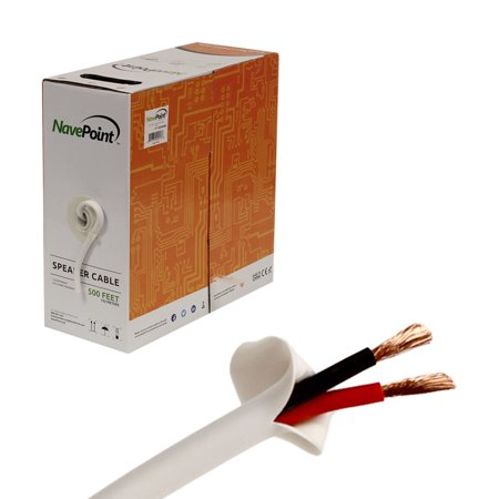 navepoint 500ft in wall audio speaker cable wire cl2 14 2 awg gauge 2 conductor bulk white. Black Bedroom Furniture Sets. Home Design Ideas