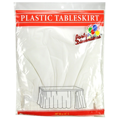 "White  29""H X 14'L Plastic Disposable Party Table Skirt"