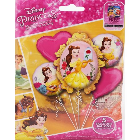 Disney Princess Belle Beauty and The Beast Authentic Licensed Theme Foil Balloon Bouquet - Candy Themed Balloons