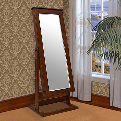 Powell Cheval Mirror Jewelry Wardrobe, Walnut Finish