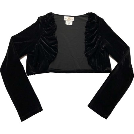 Big Girls Plus Size 10.5-18.5 Black Stretch Velvet Bolero Cardigan Sweater/Shrug, 14.5 [RRE22818] - Girls Velvet Shrug