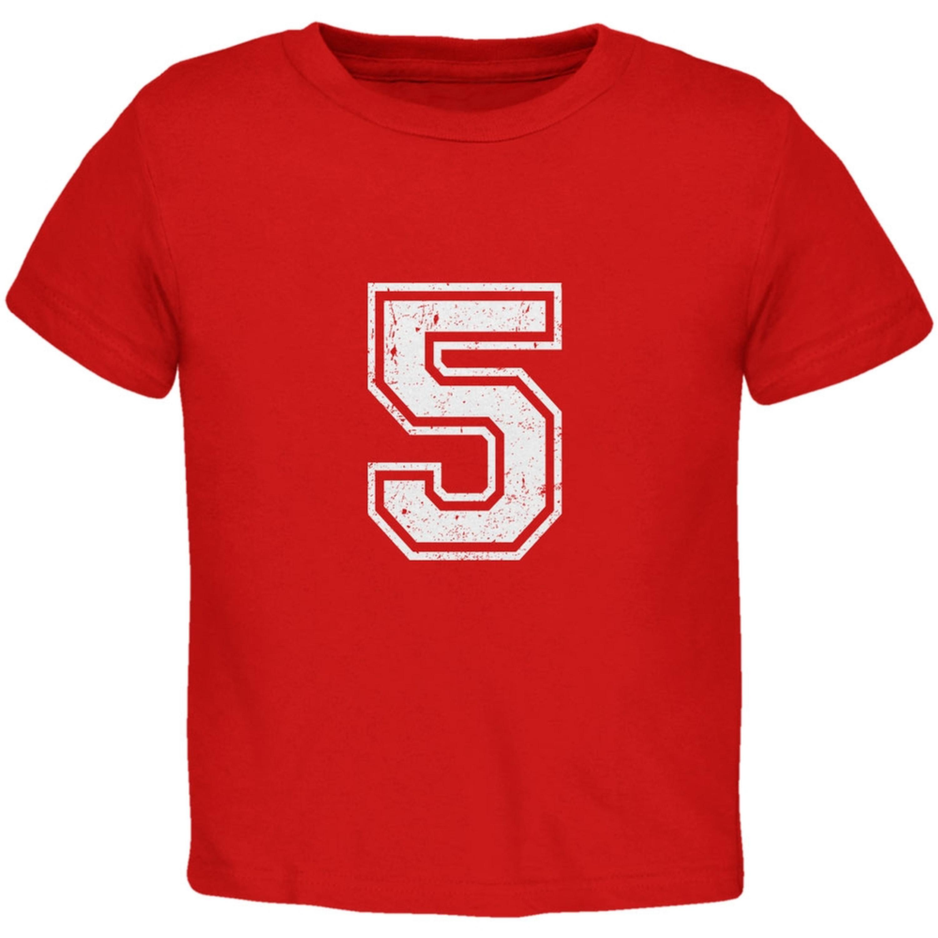Birthday Kid Jersey 5 5th Fifth Red Toddler T-Shirt