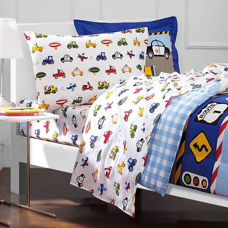 new dreamfactory trucks twin comforter sheets boys blue bedroom bedding vehicles ebay. Black Bedroom Furniture Sets. Home Design Ideas