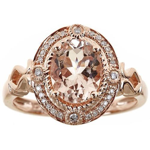 Anika and August 14k Rose Gold Oval-cut Morganite and Diamond Accent Ring Size-7