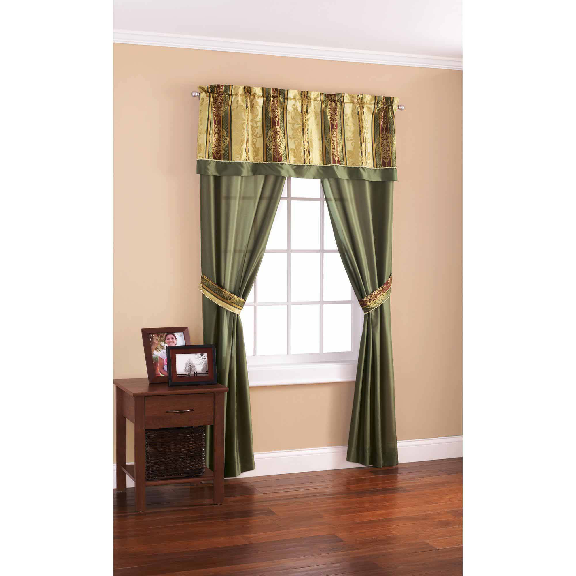 Mainstays Green And Gold 5 Piece Window Panel Set