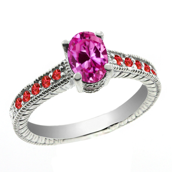 1.40 Ct Oval Pink Created Sapphire Red Garnet 18K White Gold Ring by