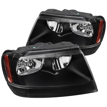 Spec-D Tuning For 1999-2004 Jeep Grand Cherokee Black Replacement Headlights Head Lamps Left + Right 1999 2000 2001 2002 2003 2004 2001 Jeep Grand Cherokee Headlights