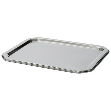 Bezrat Stainless Steel Food Serving Tray – Rectangular Decorative Mirrored Serveware Platter - Medium (15