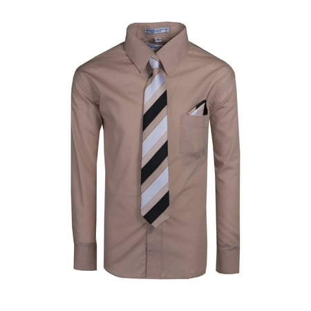Boys Long Sleeve Dress Shirt with Neck Tie and Hanky in Pastel Colors