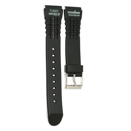 TIMEX 15MM BLACK GRAY RUBBER IRONMAN TRIATHLON SPORT WATCH BAND STRAP ()