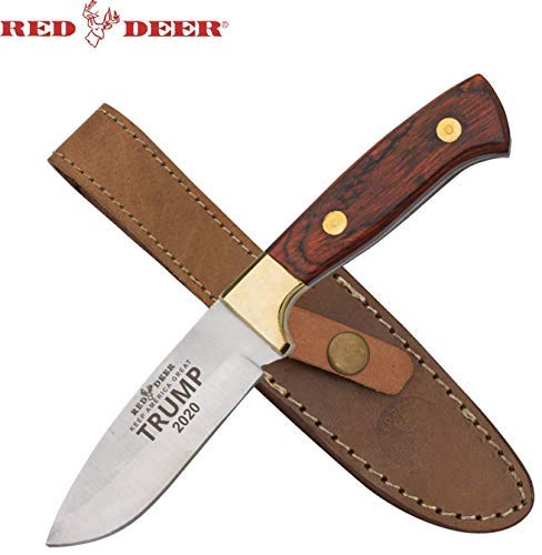 "Trump ""Keep America Great 2020"" 8.5"" Red Deer Pakka Hunter Full Tang Drop Point Pakka Wood Hunting Knife"