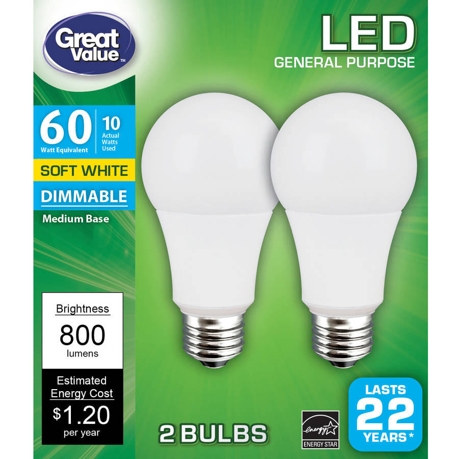 Great Value LED Light Bulb, 10W (60W Equivalent), A19 Omni, Dimmable, Soft White, 2-Pack