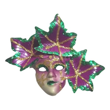 Pin Mardi Gras Mask with Leaves Purple Green Gold Party Favor - Mardi Gras Scene Setter