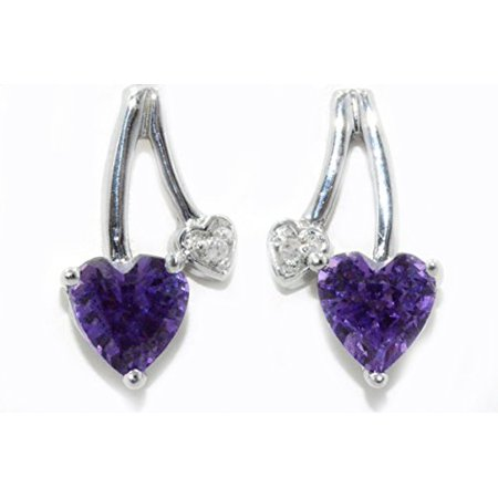 1 Ct Alexandrite Heart Diamond Stud Earrings 925 Sterling Silver